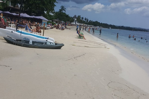 On Negril's seven mile of white sandy beach.
